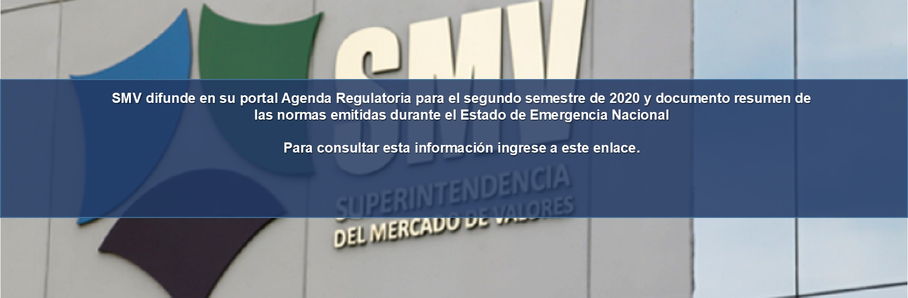 SMV - AGENDA REGULATORIA 2020